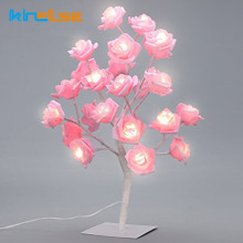 Rose Tree Bordslampa LED Garland Lights Justerbar Rosa Rose Flower Desk Light Bröllop Bedroom Event Party Heminredning EU US plug