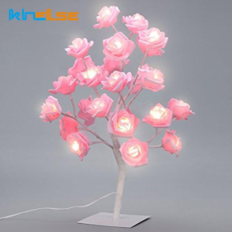 Rose Tree Table Lamp LED Garland Lights Adjustable Pink Rose Flower Desk Light Wedding Bedroom Event Party Home decor EU US plug