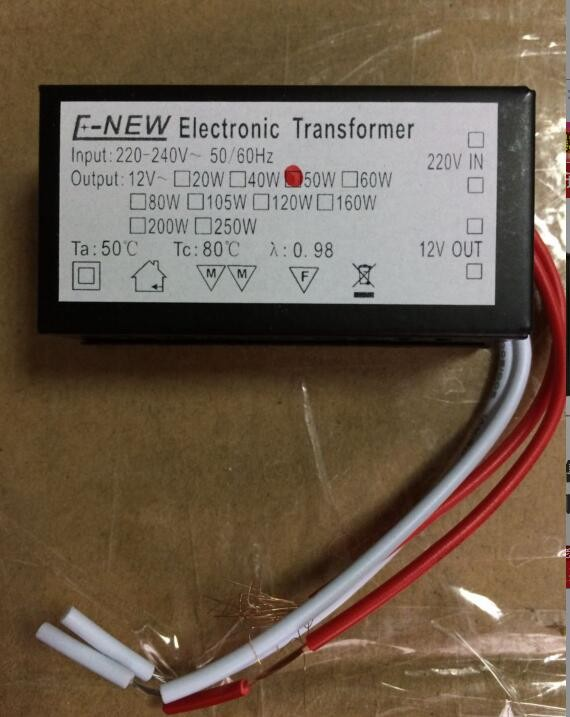Hot sale AC 220V 240v to 12V 50W halogen lamp electronic transformer 5pcs one lot good quality image