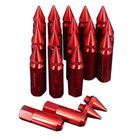 AUTO 20pcs M12 x 1.5 Spiked Lug Nuts Extended Tuner Wheel/Rims For Honda Acura red