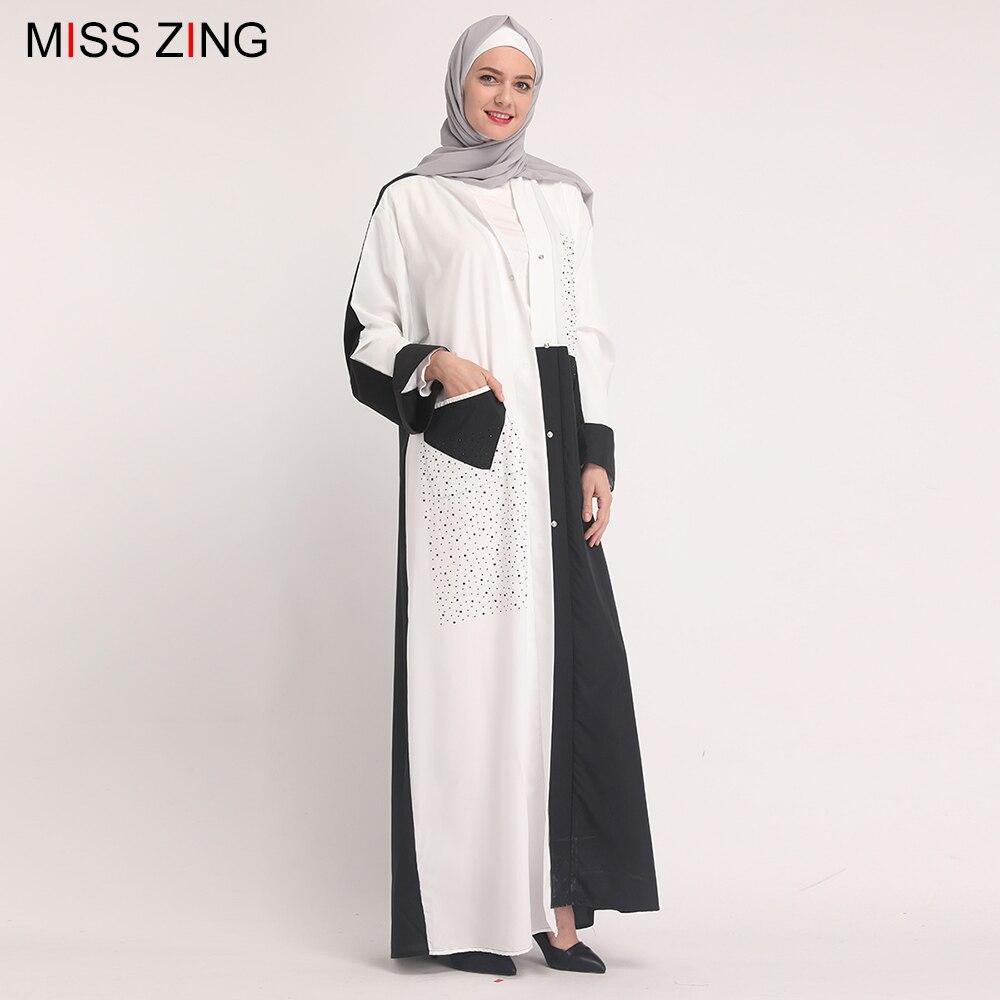Zing Muslim Abaya Diamonds Patch New Dress Mesh Cardigan