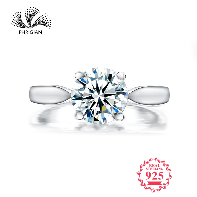 Sona NOT FAKE Fine Engraving Ring S925 Sterling silver Diamond Solitaire ring Original Design 925 carat claritySona NOT FAKE Fine Engraving Ring S925 Sterling silver Diamond Solitaire ring Original Design 925 carat clarity