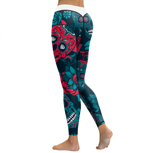 d869c2b4c61641 JIGERJOGER 2017 winter Halloween Petrol blue crystal skull roses print yoga  pants skinny Plus size compression
