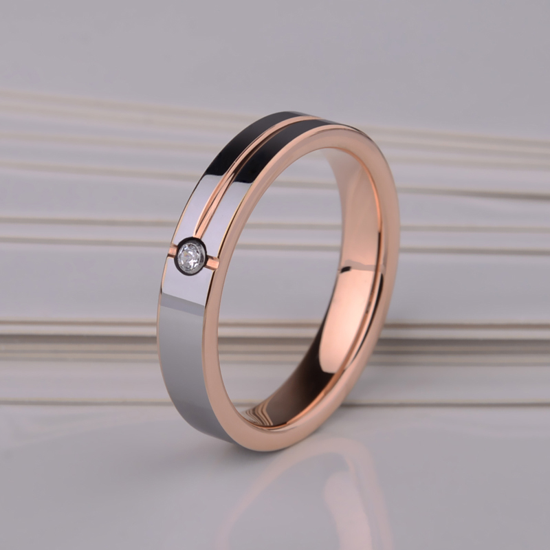Free Shipping Beautiful Ladies/ Mans' Rose Gold Tungsten Rings CZ Stone Inlay  Comfort Fit Wedding Ring Size 4-11