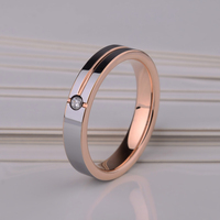Free Shipping Beautiful Ladies/ Mans' Rose Gold Tungsten Rings CZ Stone Inlay Comfort Fit Wedding Ring Size 4 11
