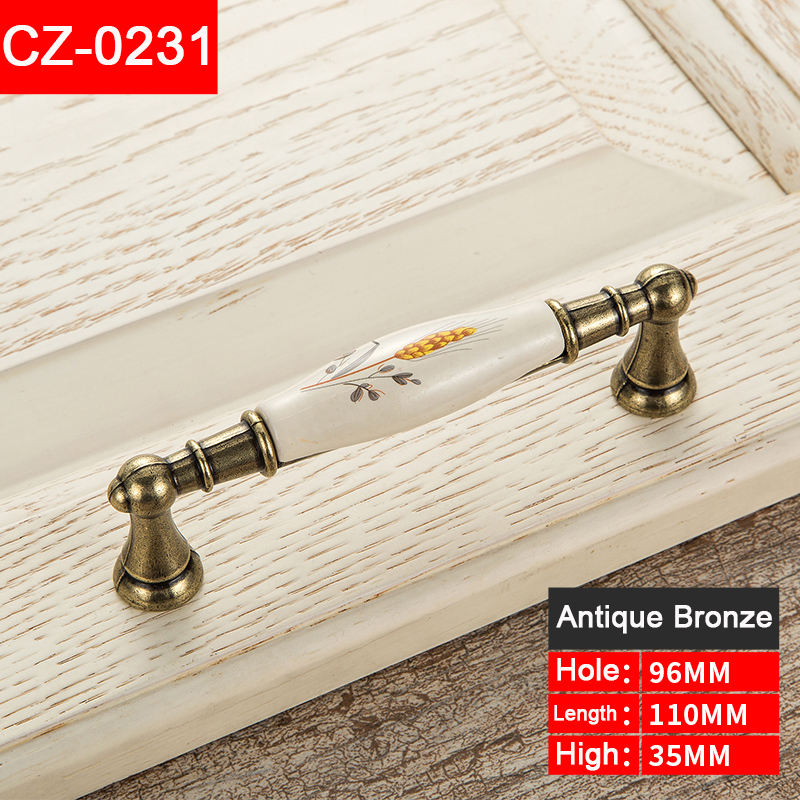 Retro style flowers Ceramic classic knob Kitchen Cabinet Drawer Furniture door Handles With Screw Furniture Hardware CZ-0231