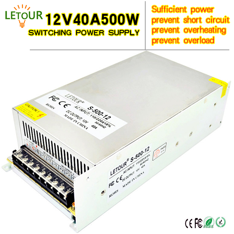 12V 40A 500W Power Supply AC 96V-240V Converter Adapter DC 12V LED Driver Switching Power Supply for LED Strip Motor CE FCC Cert