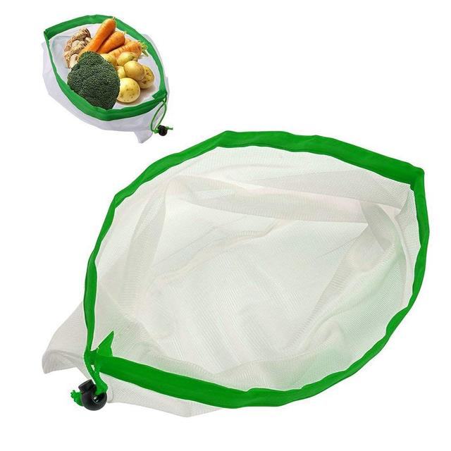 DCOS 5PCS/Set Polyester Washable Reusable Produce Bags, Eco-friendly Soft Premium Lightweight Vegetable Drawstring Storage Net 3