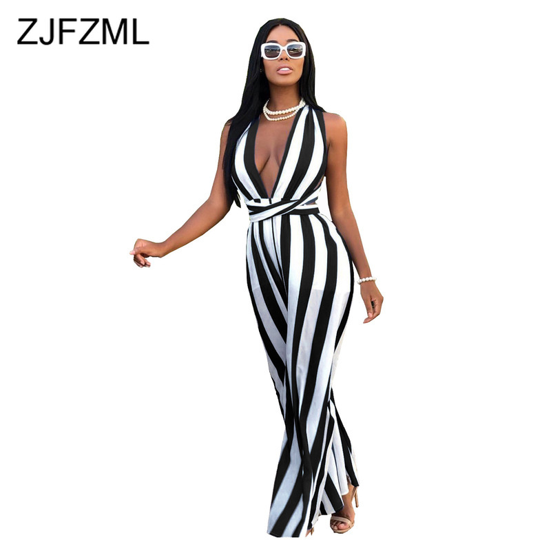Striped Patchwork Rompers Womens   Jumpsuit   Deep V Neck Cross Backless Wide Leg Playsuit Summer Sleeveless Plus Size Long Overall