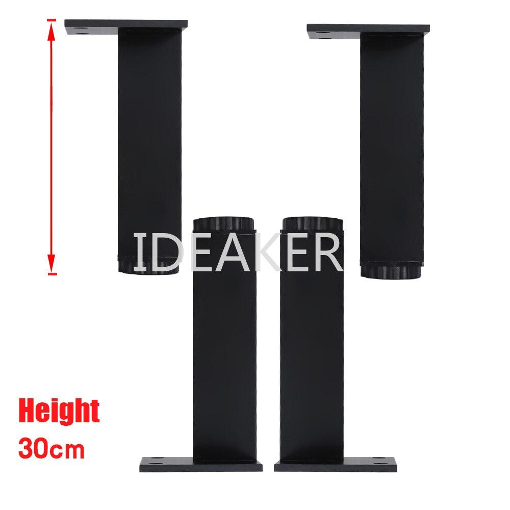 4PCS 300x38MM Black Rectangle Aluminum Alloy Legs Height Adjustable Feet Cabinet Table Legs