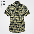 2016 Summer Casual Plaid Shirt Pure cotton Solid Short Sleeves High Quality Men Shirt Ventilation Brand Clothing Army Size 4XL