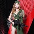 New fashion Fresco Fêmea DS stage Exército Militar Apertado Sexy Bodysuit trajes Do Partido mostram desempenho militar divisão conjunto estrela