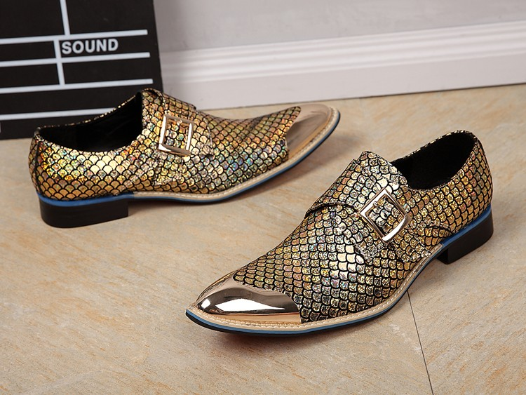 CH.KWOK Metallic Men Wedding Shoes Genuine Leather Sequined Glitter Mens Gold Dress Shoes Pointed Toe Mens Oxford ShoesCH.KWOK Metallic Men Wedding Shoes Genuine Leather Sequined Glitter Mens Gold Dress Shoes Pointed Toe Mens Oxford Shoes