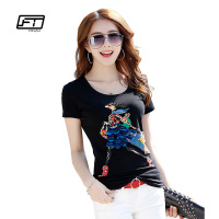 Fitaylor Summer Women T Shirt 2017 Embroidery Black White Cotton Stereoscopic Fashion Short Sleeve Plus Size