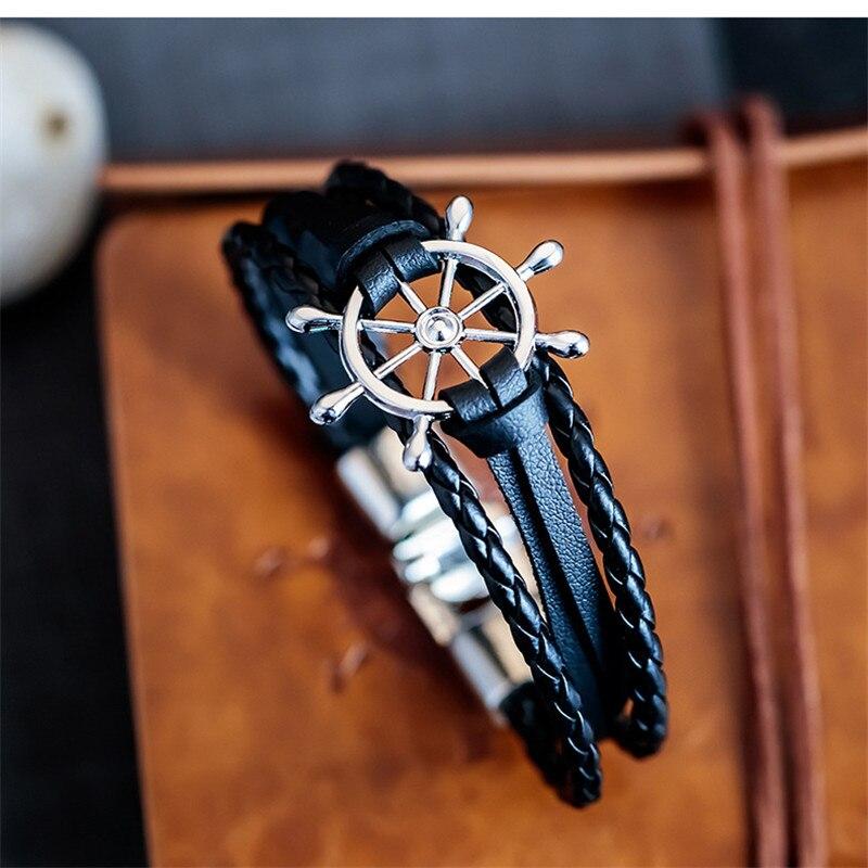 Bobo Cover Black Leather charm Bracelets Men couple hope Rudder bracelets bangles for Men women femme homme Fashion jewelry Gift