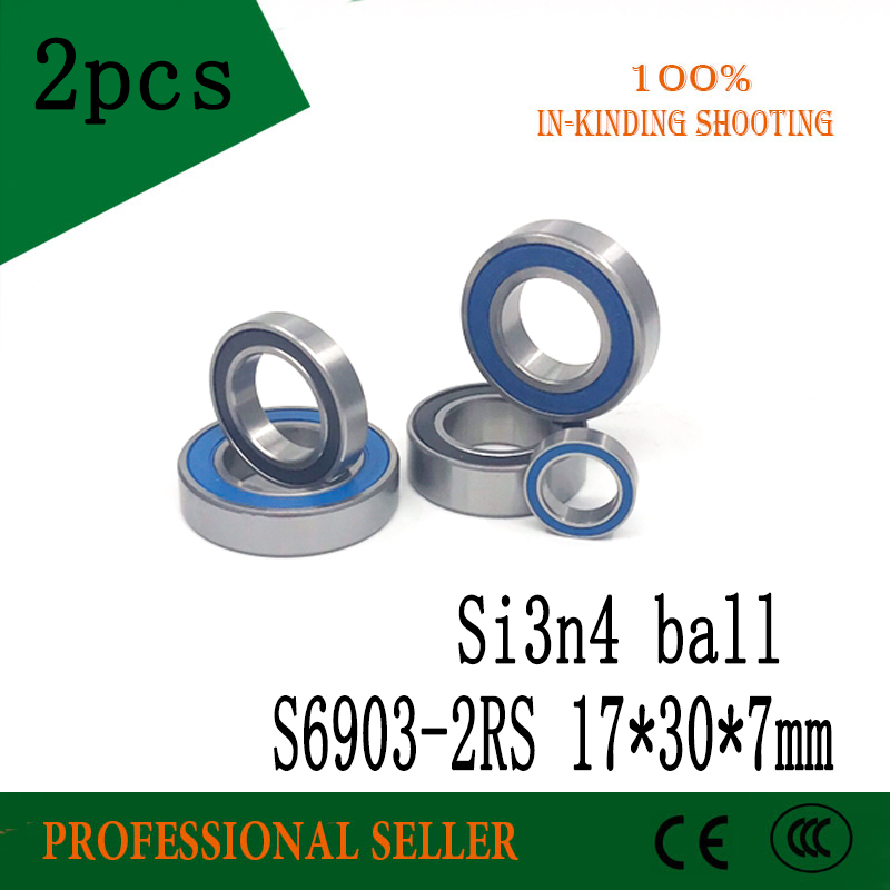 Free Shipping S6903-2RS 17x30x7mm Stainless Steel 440C Hybrid Ceramic SI3N4 Balls Deep Groove Ball Bearing  6903 61903 2RS
