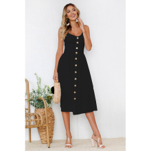 2019 Women Summer New Sexy Black And White Solid Color Sling Button Dress Casual Sleeveless Backless Lady F4