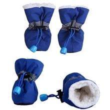4pcs Impermeable Invierno Mascotas Zapatos de Perro Antideslizante Lluvia Botas de Nieve Calzado Calor Grueso Para Los Pequeños Gatos Perros Perrito Calcetines de Perro Botines