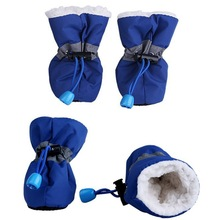 4 pcs Tahan Air Musim Dingin Pet Dog Sepatu Anti-slip Sepatu Salju Hujan Sepatu Tebal Hangat Untuk Kucing Anjing Kecil Anjing Anjing Kaus Kaki Booties