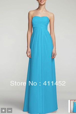 07d7569abf57 Turquoise blue /Baby pink Long Strapless Chiffon Dress with Pleated Bodice  Empire bridesmaid