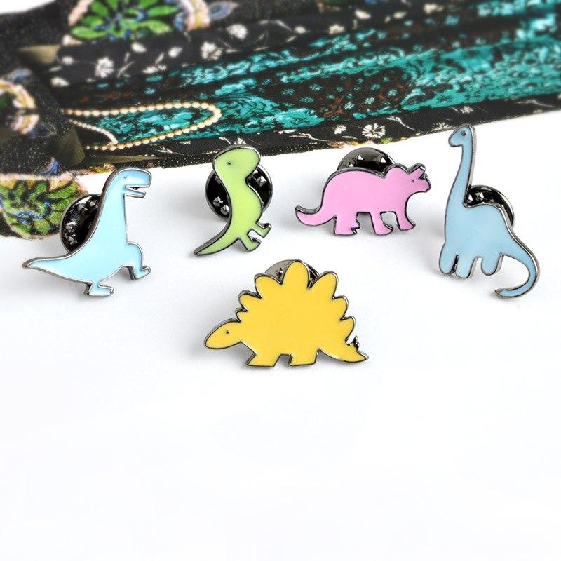 Красочный динозавр эмаль брошь апатозавр Стегозавр контакты джинсовая одежда значок кнопки мультфильм ювелирные изделия подарок для мале...