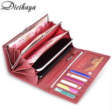 Women Genuine Leather Butterfly Embossing Long Wallets (2 colors)