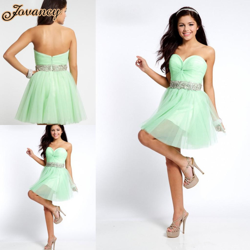 Simple Sweetheart Beaded Chiffon Ball Gown Prom Dress Short Mint ...