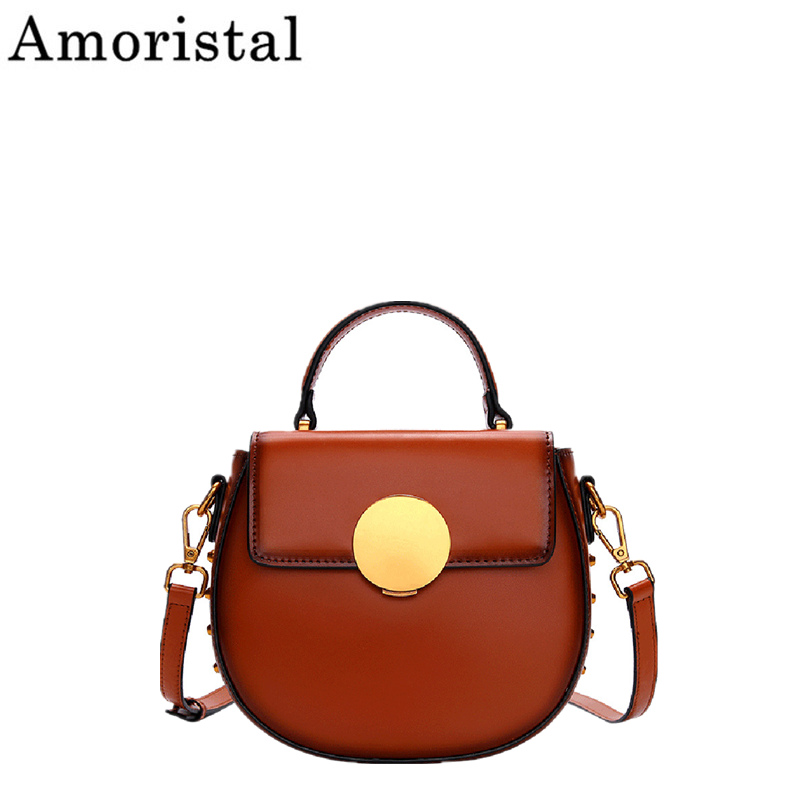 New Messenger Bag Genuine Leather Fashion Rivet Women Bag Retro Saddle Handbag Top-handle Small Design Luxury Shoulder Bag SY140New Messenger Bag Genuine Leather Fashion Rivet Women Bag Retro Saddle Handbag Top-handle Small Design Luxury Shoulder Bag SY140