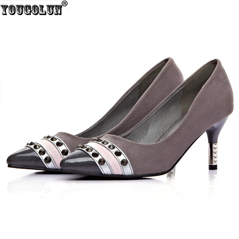 YOUGOLUN women fashion nubuck pointed toe pumps rivets thin high heels pumps  shoes woman womens female shoes ladies work shoes yougolun women bling pumps sexy pointed toe high heels 9 5cm fashion woman thin heel party elegant ladies office gold shoes