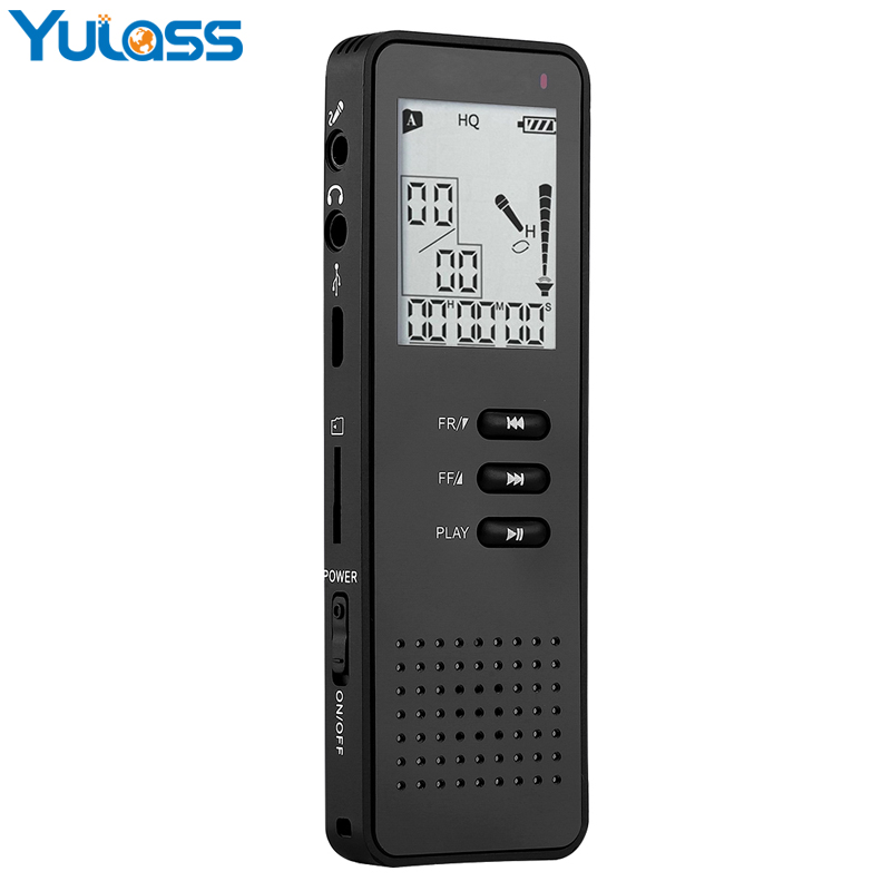 Yulass Telephone Digital Voice Recorder 8GB Portable Professional Dictaphone With Mp3 Player/TF Card To Expand 64GB Black sony icd ux544f 8gb digital voice recorder with built in usb
