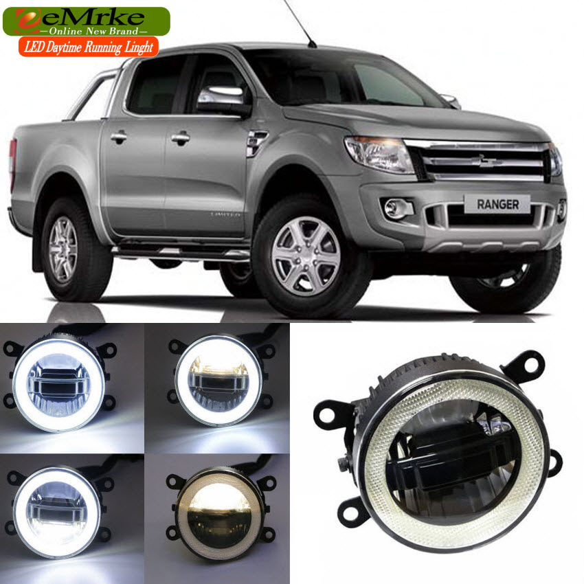 eeMrke For Ford Ranger 2012 - up 3 in 1 LED DRL Angel Eye Fog Lamp Car Styling High Power Daytime Running Lights Accessory eemrke car led drl for honda odyssey jdm 2014 2015 2016 high power xenon white fog cover daytime running lights kits