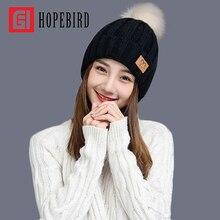 HOPEBIRD Letter Leather Brand Gorros Knitted Cap Baggy Beanie Winter Female Pompon Women Hat Skullies Autumn Bonnet Femme Cap