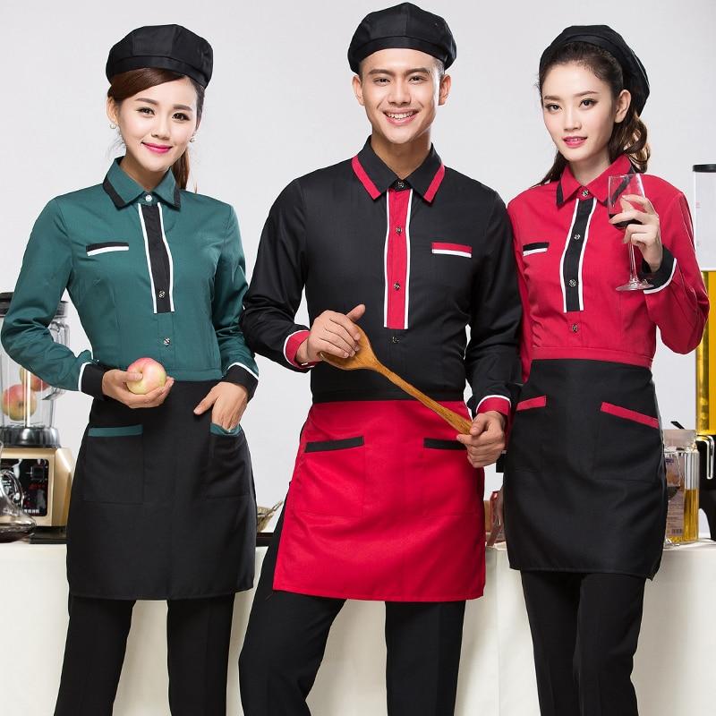 Hotel Uniform Autumn Winter Female Cafe Waiter The Restaurant Western Style Food Hot Pot Long Sleeved Overalls J030