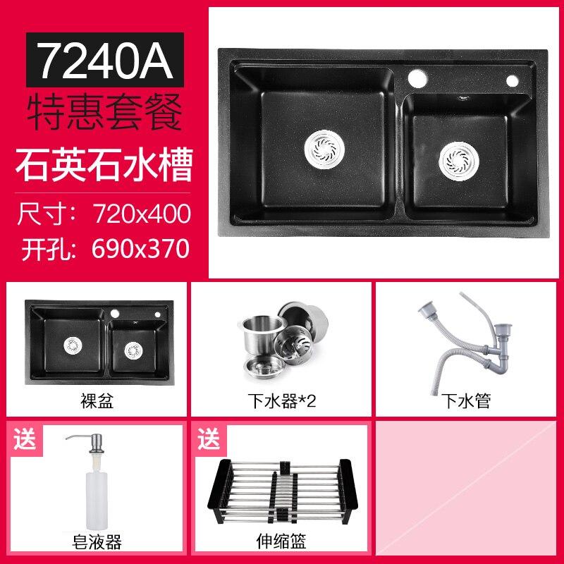 German Thick Quartz Stone Sink Double Bowl,Kitchen Sink,Sink Granite Pool, Black Multifunction Washing Basin,20cm Thicken Sink - 6