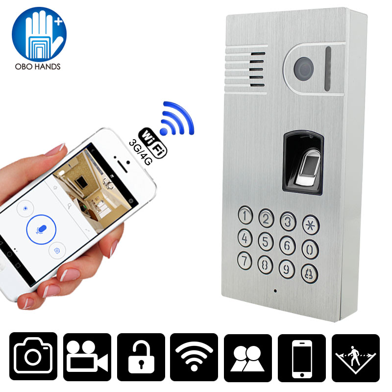 Wireless WIFI Intercom Doorbell Camera Fingerprint Password Video Phone Door bell Night Vision IR Motion Alarm for IOS Android 2016 new wifi doorbell video door phone support 3g 4g ios android for ipad smart phone tablet control wireless door intercom