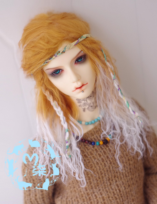 New 1/3 22-23cm 1/4 18~19cm 1/6 16-17cm Cool Gold Gradient White Long Curl Wig BJD Wig SD MSD YOSD Doll Wig new 1 3 22 23cm 1 4 18 18 5cm bjd sd dod luts dollfie doll orange black short handsome wig