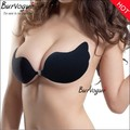 2017 solid Self-Adhesive Push Up Silicone Bust Front Closure Strapless Invisible Bra sets summer petal breathable