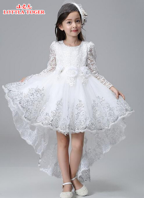 6aadfda6d4d Factory Wholesale 3-12 years Girl Party Dress New Long Sleeve Lace Flower  Girl Dresses Short Front Long Back Kids Evening Gowns