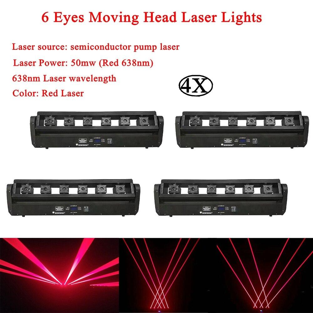 4 Pcs/Lot professionnel DJ éclairage rouge 638nm 6 yeux tête mobile lumière Laser DMX512 musique clignotant lumières Disco DJ maison fête lampe