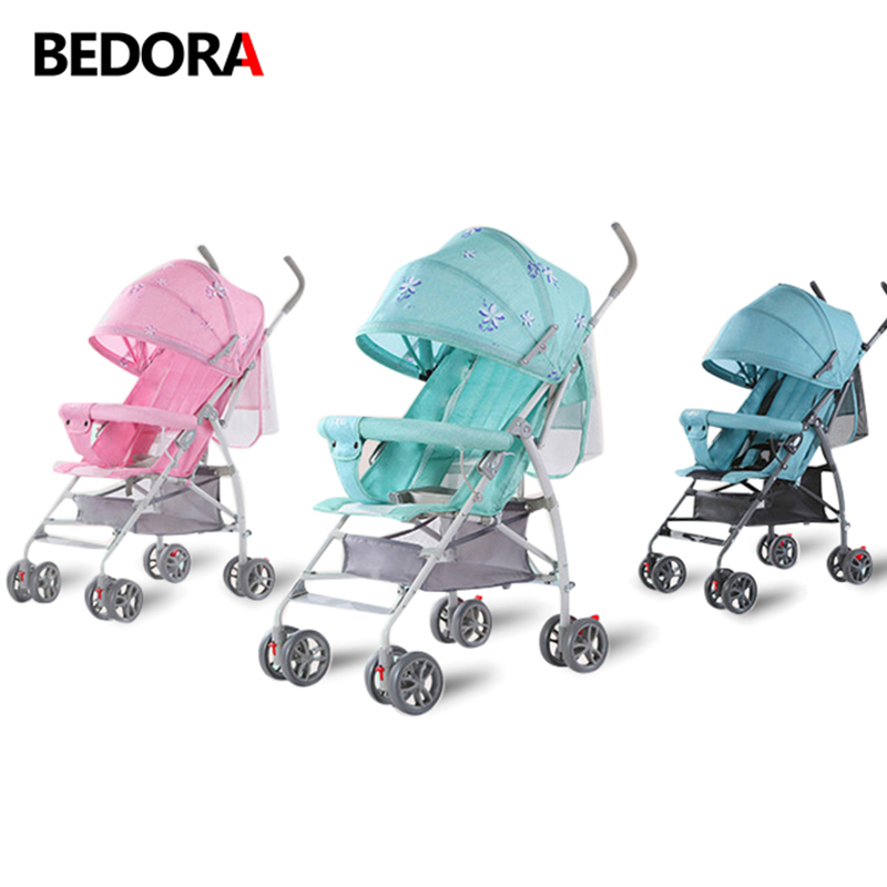 Bedora Baby Stroller Lightweight folding baby cart Portable Can sit and Lie down Simple children's trolley Mini baby stroller mige stroller baby trolley cart folding baby carriage baby cart can be lying on the baby cart portable cart pram with 3 gift