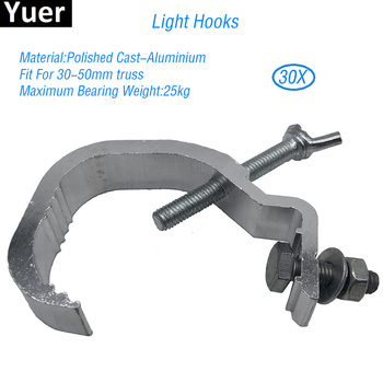 30Pcs/Lot  Aluminum Stage Lights Hook Fit For 30-50mm Stage Effect Light Hooks Disco DJ Par moving Head Light Accessories simple aluminum integrated stage light hook lighting clamp cast steel folding beam light hook loading 150kg 50mm truss tube