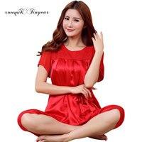 Tinyear top quality silk satin piżama set red kwiatowym haftem wokół szyi pani lato piżamy piżamy nightclothes big size