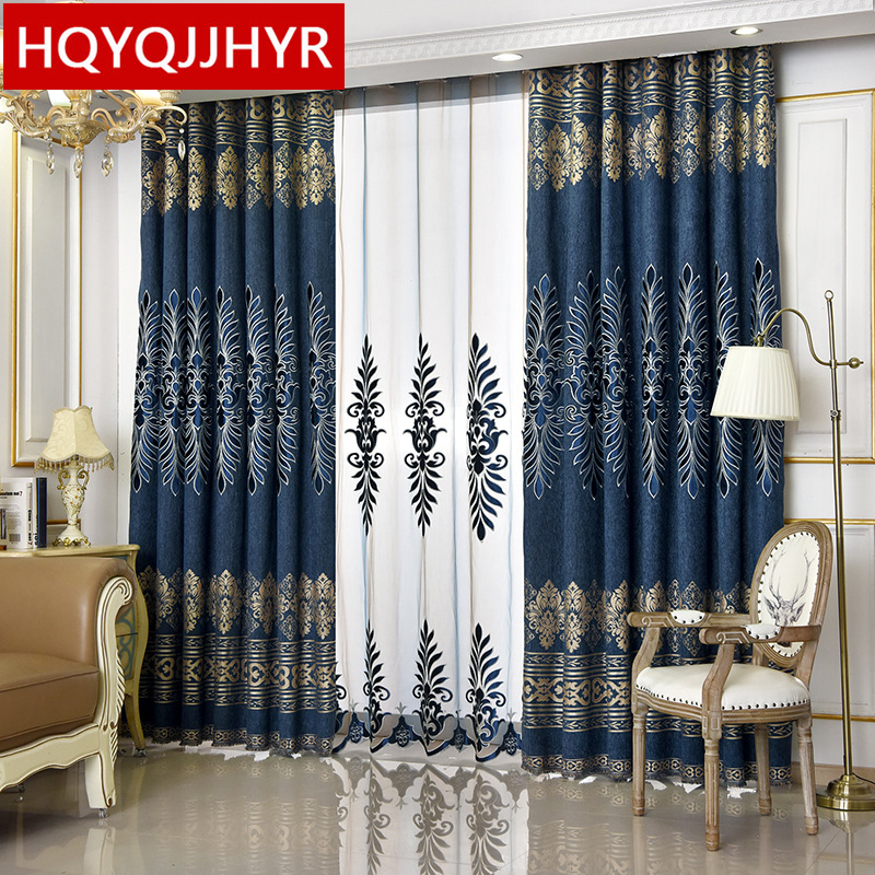 US $14.52 56% OFF|Blue/Brown Luxury Embroidered Villa Blackout Curtain For  Living Room Windows Eorope High end custom curtain for Bedroom-in Curtains  ...