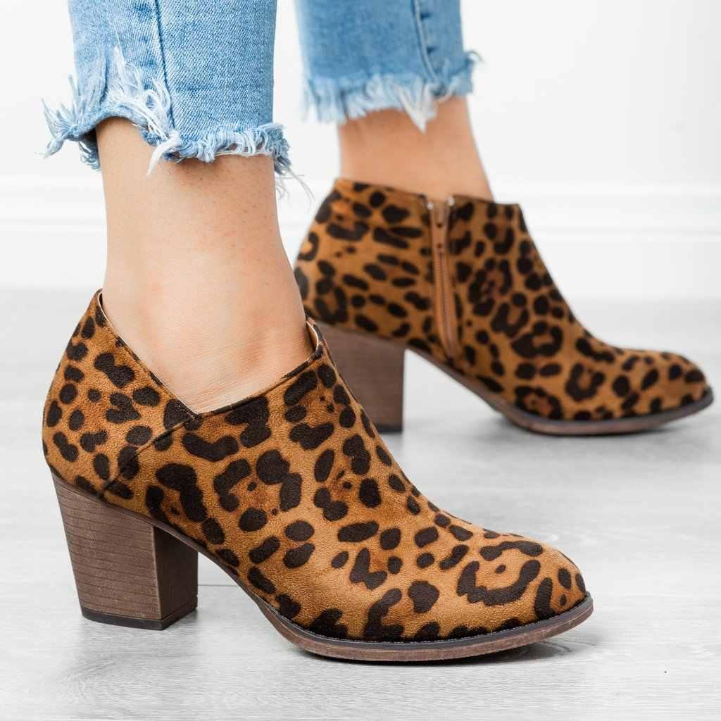 Mode Wees Teen Casual Dames Mode Herfst Enkel Vrouwen Laarzen Hak Slip Op Vrouwen Vrouwelijke Hakken Enkele Schoenen
