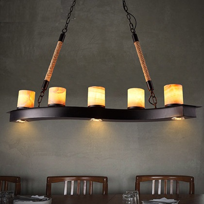 Loft Style Iron Marble Droplight Creative Hemp Vintage Pendant Light Fixtures For Dining Room LED Hanging Lamp Home Lighting iron cage loft style creative led pendant lights fixtures vintage industrial lighting for dining room suspension luminaire