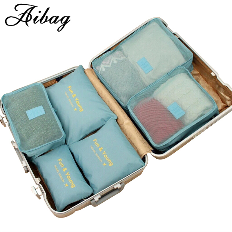 AIBAG 6pcs/set Luggage bag high-quality Double Zipper Waterproof Polyester Men and Women Travel classification Bags packing cube high quality authentic famous polo golf double clothing bag men travel golf shoes bag custom handbag large capacity45 26 34 cm