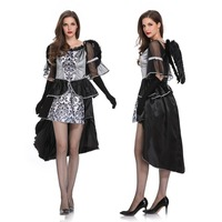 Wonder Woman Costume Gothic Dress with Wings Dark Count Vampire Medieval Dress Halloween Clothes for Women Cosplay Party Role