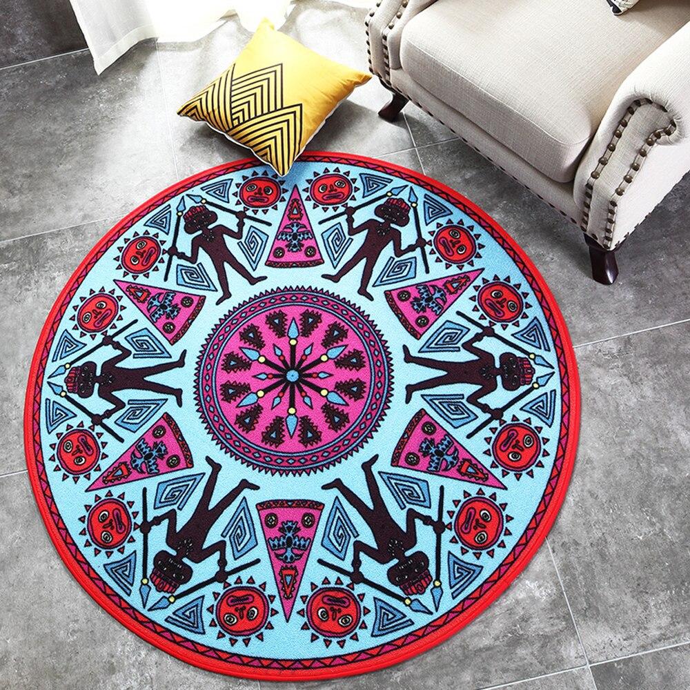 Abstract Geometry Maya Pattern Design Indian Style Round Carpet Non slip Living Room Bedroom Rug Home Decorator Floor Rug