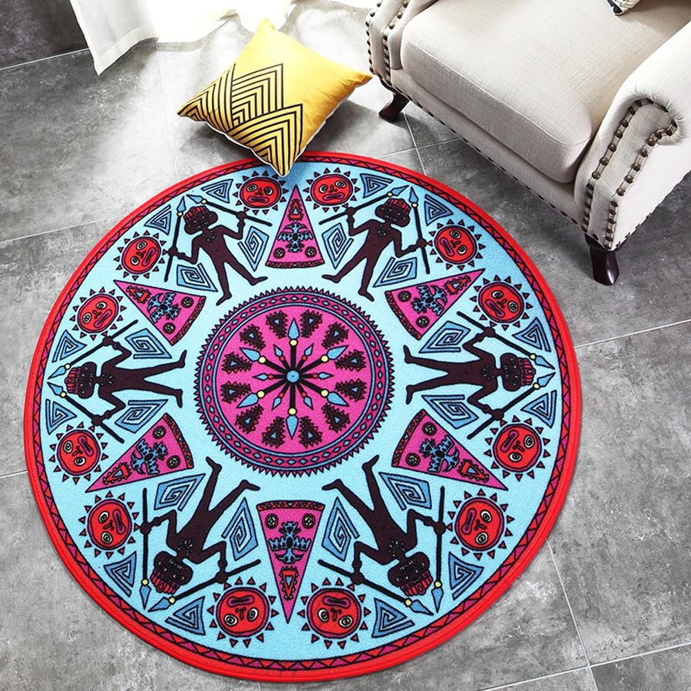 Géométrie abstraite Maya motif Design Style indien tapis rond antidérapant salon chambre tapis Home Decorator tapis de sol