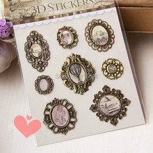 delicate bronze casting vintage Mirror 3D Sculptures stickers Antique Plated Metal tag scrapbooking embellishment